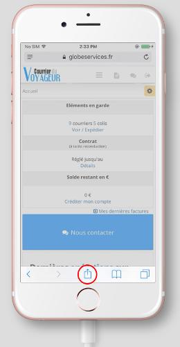 Accéder au menu de partage sur Safari pour iPhone