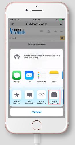 Ajouter un raccourci vers un site internet sur Safari pour iPhone